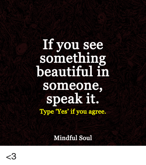 memes: If you see  something  beautiful in  Someone.  speak it.  Type 'Yes' if you agree.  Mindful Soul <3