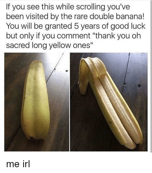 """Thank You, Banana, and Good: If you see this while scrolling you've  been visited by the rare double banana!  You will be granted 5 years of good luclk  but only if you comment """"thank you oh  sacred long yellow ones"""""""