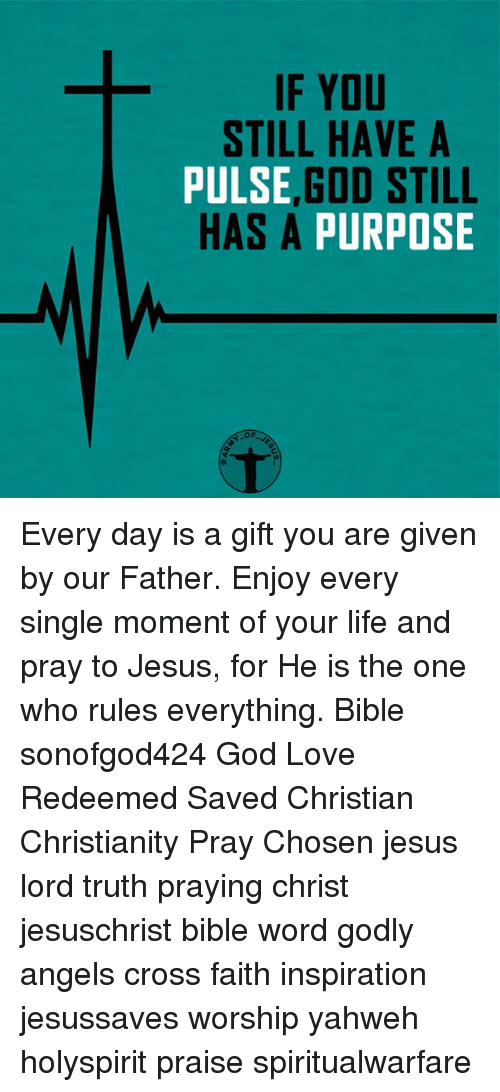 God, Jesus, and Life: IF YOU  STILL HAVE A  PULSE  GOD STILL  HAS A PURPOSE  OF Every day is a gift you are given by our Father. Enjoy every single moment of your life and pray to Jesus, for He is the one who rules everything. Bible sonofgod424 God Love Redeemed Saved Christian Christianity Pray Chosen jesus lord truth praying christ jesuschrist bible word godly angels cross faith inspiration jesussaves worship yahweh holyspirit praise spiritualwarfare