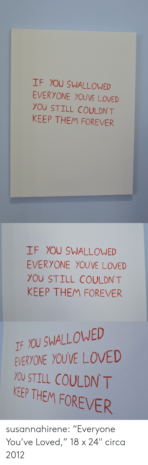 """circa: IF YOU SWALLOWED  EVERYONE YOUVE LOVED  YOU STILL COULDN T  KEEP THEM FOREVER   IF YOU SWALLOWED  EVERYONE YOUVE LOVED  YOU STILL COULDN T  KEEP THEM FOREVER   IF YOU SWALLOWED  EVERYONE YOUVE LOVED  YOU STILL COULDN T  KEEP THEM FOREVER susannahirene: """"Everyone You've Loved,"""" 18 x 24"""" circa 2012"""