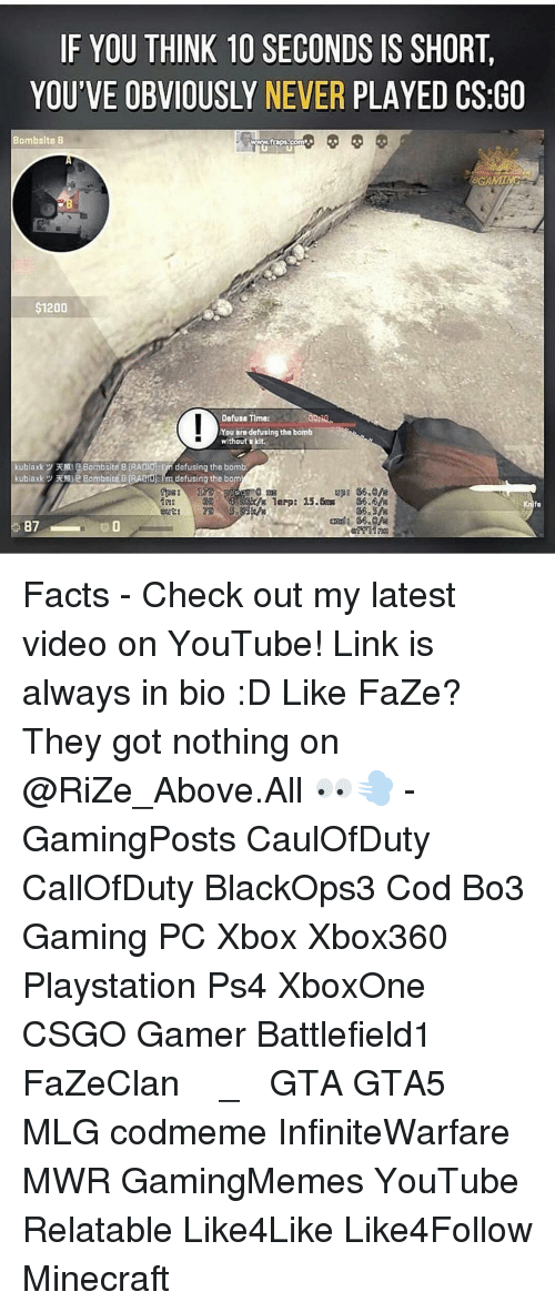Fact Checking: IF YOU THINK 10 SECONDS IS SHORT.  YOU'VE OBVIOUSLY NEVER PLAYED CSGO  Bombsite B  &GAMING  200  Defuse Time:  You aro defusing the bomb  without kit.  kubiaxky EMI Bombsite B RADIO  defusing the bomb  fa  87 Facts - Check out my latest video on YouTube! Link is always in bio :D Like FaZe? They got nothing on @RiZe_Above.All 👀💨 - GamingPosts CaulOfDuty CallOfDuty BlackOps3 Cod Bo3 Gaming PC Xbox Xbox360 Playstation Ps4 XboxOne CSGO Gamer Battlefield1 FaZeClan بوس_ستيشن GTA GTA5 MLG codmeme InfiniteWarfare MWR GamingMemes YouTube Relatable Like4Like Like4Follow Minecraft
