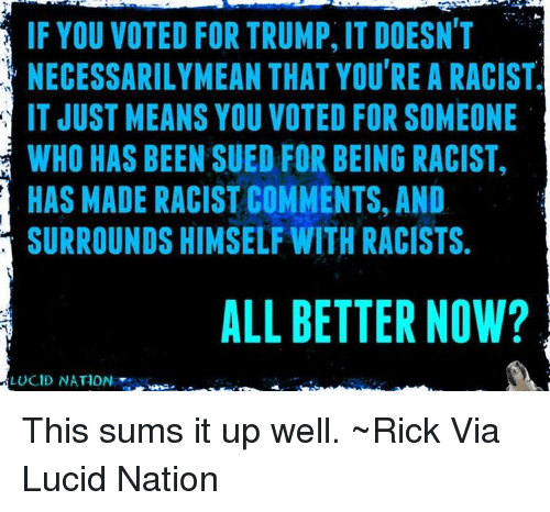 Memes, Racist, and Sued: IF YOU VOTED FOR TRUMP, IT DOESN'T  NECESSARILY MEAN THAT YOU'RE A RACIST  IT JUST MEANS YOU VOTED FOR SOMEONE  WHO HAS BEEN SUED FOR BEING RACIST,  HAS MADE RACIST COMMENTS, AND  SURROUNDS HIMSELF WITH RACISTS.  ALL BETTER NOW?  LUCID NATION This sums it up well. ~Rick  Via Lucid Nation