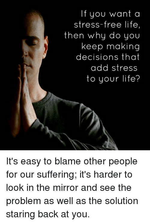 Life, Memes, and Free: If you want a  stress-free life  then why do you  keep making  decisions that  add stress  to your life? It's easy to blame other people for our suffering; it's harder to look in the mirror and see the problem as well as the solution staring back at you.