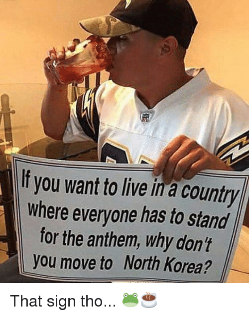 Nfl, North Korea, and Live: If you want to live in a country  where everyone has to stand  for the anthem, why don't  you move to North Korea? That sign tho... 🐸☕