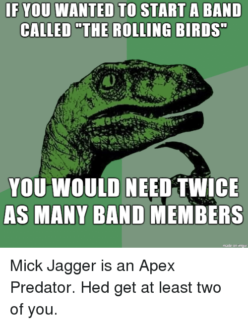 """mick: IF YOU WANTED TO  CALLED """"THE  START A BAND  ROLLING BIRDS  YOU WOULD NEED TWICE  AS MANY BAND MEMBERS  made on imqur Mick Jagger is an Apex Predator. Hed get at least two of you."""