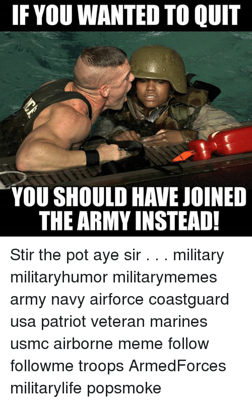 Meme, Memes, and Army: IF YOU WANTED TO QUIT  YOU SHOULD HAVEJOINED  THE ARMY INSTEAD! Stir the pot aye sir . . . military militaryhumor militarymemes army navy airforce coastguard usa patriot veteran marines usmc airborne meme follow followme troops ArmedForces militarylife popsmoke