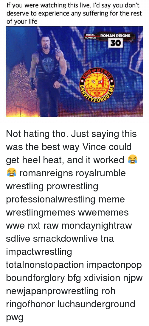 rohs: If you were watching this live, I'd say you don't  deserve to experience any suffering for the rest  of your life  ROYAL ROMAN REIGNS  RUMBLE  30  觖  on InSTAGRAM  FORG Not hating tho. Just saying this was the best way Vince could get heel heat, and it worked 😂😂 romanreigns royalrumble wrestling prowrestling professionalwrestling meme wrestlingmemes wwememes wwe nxt raw mondaynightraw sdlive smackdownlive tna impactwrestling totalnonstopaction impactonpop boundforglory bfg xdivision njpw newjapanprowrestling roh ringofhonor luchaunderground pwg