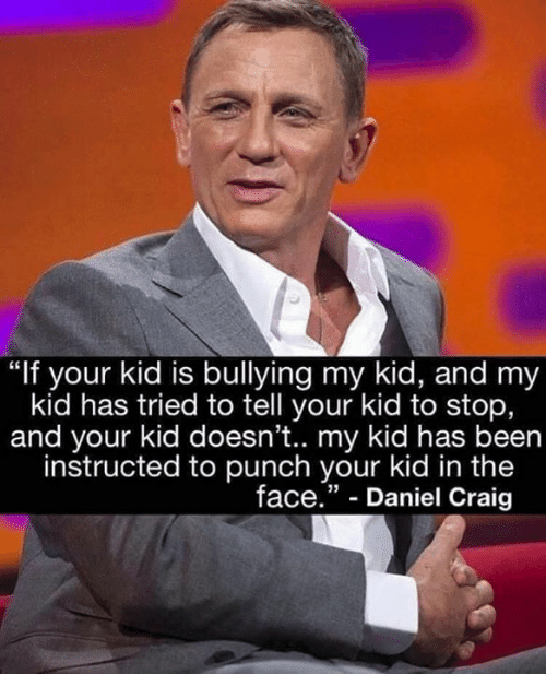 """Daniel Craig: """"If your kid is bullying my kid, and my  kid has tried to tell your kid to stop,  and your kid doesn't.. my kid has been  instructed to punch your kid in the  face."""" - Daniel Craig"""