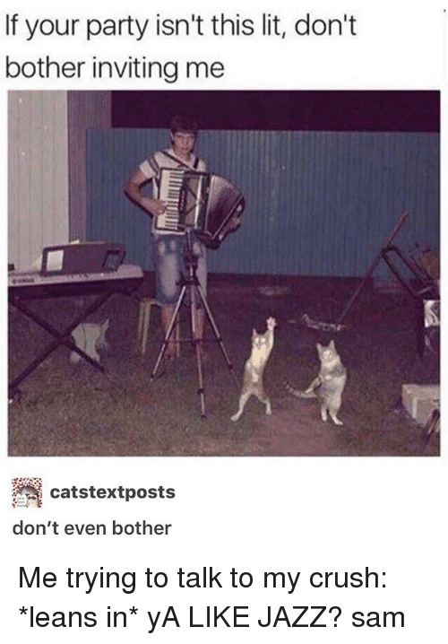 Leaning In: If your party isn't this lit, don't  bother inviting me  catstextposts  don't even bother Me trying to talk to my crush: *leans in* yA LIKE JAZZ? ≪sam≫