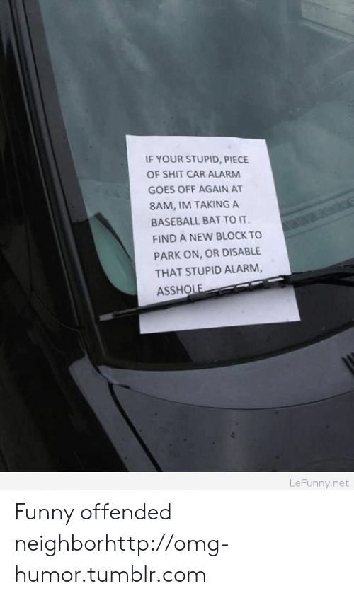 Baseball, Funny, and Omg: IF YOUR STUPID, PIECE  OF SHIT CAR ALARM  GOES OFF AGAIN AT  8AM, IM TAKING A  BASEBALL BAT TO IT  FIND A NEW BLOCK TO  PARK ON, OR DISABLE  THAT STUPID ALARM,  ASSHOLE  LeFunny.net Funny offended neighborhttp://omg-humor.tumblr.com