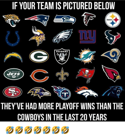 Dallas Cowboys, Nfl, and Jets: IF YOUR TEAM IS PICTURED BELOVW  Steelers  LU  RAIDERS  JETS  THEY'VE HAD MORE PLAYOFF WINS THAN THE  COWBOYS IN THE LAST 20 YEARS 🤣🤣🤣🤣🤣🤣🤣