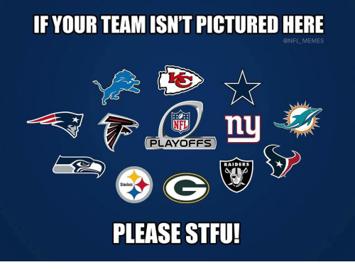 Memes, Nfl, and Stfu: IF YOUR TEAM ISN'T PICTURED HERE  @NFL MEMES  PLAYOFFS  RAIDERS  Steelers  PLEASE STFU!