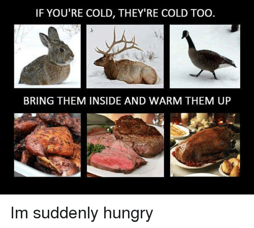 If Youre Cold Theyre Cold: IF YOU'RE COLD, THEY'RE COLD TOO.  BRING THEM INSIDE AND WARM THEM UP Im suddenly hungry