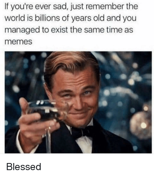 manageable: If you're ever sad, just remember the  world is billions of years old and you  managed to exist the same time as  memes Blessed