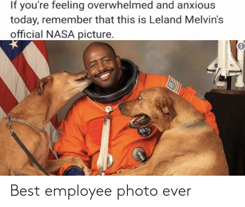 melvins: If you're feeling overwhelmed and anxious  today, remember that this is Leland Melvin's  official NASA picture Best employee photo ever
