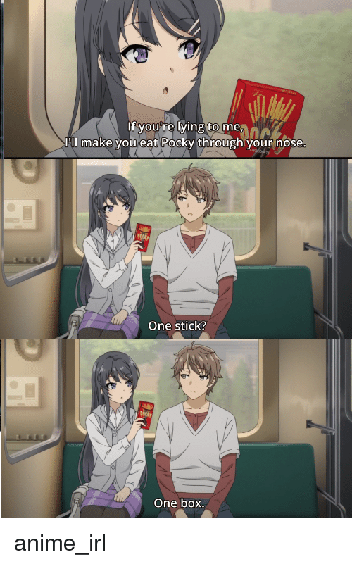 pll: If you're lying to me  Pll make you eat Pocky through your nose  One stick?  One box. anime_irl