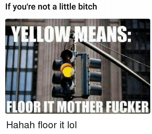 Bitch, Funny, and Lol: If you're not a little bitch  YELLOWMEANS  FLOORIT MOTHER FUCKER Hahah floor it lol