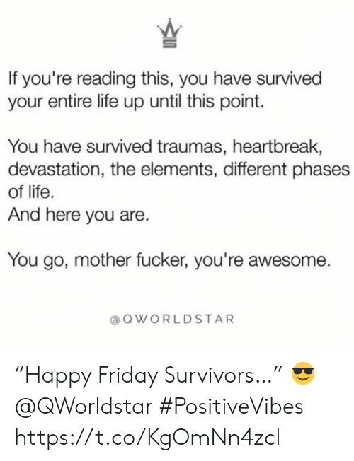 """If Youre Reading This: If you're reading this, you have survived  your entire life up until this point.  You have survived traumas, heartbreak,  devastation, the elements, different phases  of life.  And here you are.  You go, mother fucker, you're awesome.  QWORLDSTAR """"Happy Friday Survivors…""""  😎 @QWorldstar #PositiveVibes https://t.co/KgOmNn4zcl"""