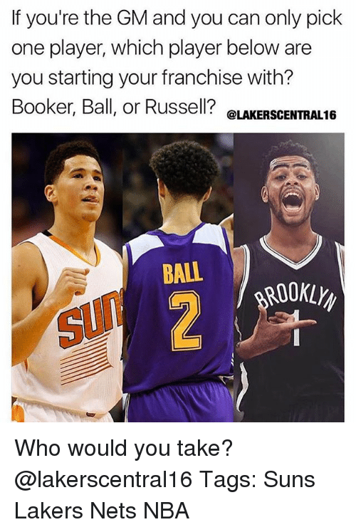 Los Angeles Lakers, Memes, and Nba: If you're the GM and you can only pick  one player, which player below are  you starting your franchise with?  Booker, Ball, or Russell? e  @LAKERSCENTRAL16  ROOKLY  SUN Who would you take? @lakerscentral16 Tags: Suns Lakers Nets NBA