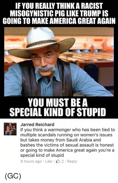Youre A Special Kind Of Stupid: IF YOUREALLYTHINKARACIST  MISOGYNISTIC PIG LIKE TRUMP IS  GOING TO MAKEAMERICA GREAT AGAIN  YOU MUST BE A  SPECIAL KIND OF STUPID  Jarred Reichard  If you think a warmonger who has been tied to  multiple scandals running on women's issues  but takes money from Saudi Arabia and  bashes the victims of sexual assault is honest  or going to make America great again you're a  special kind of stupid  9 hours ago Like 2. Reply (GC)