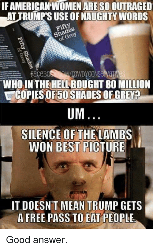 silence of the lambs: IFAMERICANTWOMENARESO OUTRAGED  eSo  EaceB0  WHO IN THE HELL BOUGHT 80 MILLION  UCOPIESOF5OSHADESOFGREVED  UM  SILENCE OF THE LAMBS  WON BEST PICTURE  IT DOESNT MEAN TRUMP GETS  A FREE PASS TO EAT PEOPLE. Good answer.