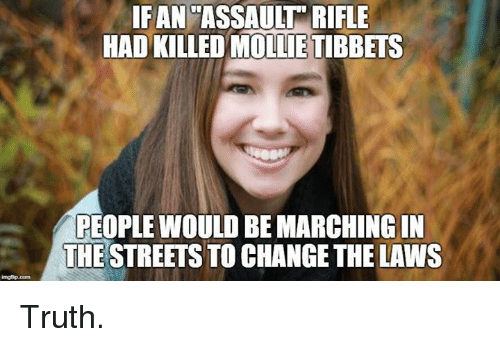 Memes, Streets, and Change: IFAN'ASSAULT RIFLE  HAD KILLED MOLLIE TIBBETS  PEOPLE WOULD BE MARCHING IN  THE STREETS TO CHANGE THE LAWS  imgfip.com Truth.