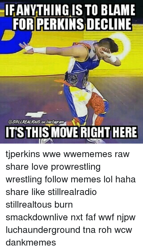 Lol, Love, and Memes: IFANYTHING IS TO BLAME  FOR PERKINSDECLINE  TSTHIS MOVE RIGHT HERE tjperkins wwe wwememes raw share love prowrestling wrestling follow memes lol haha share like stillrealradio stillrealtous burn smackdownlive nxt faf wwf njpw luchaunderground tna roh wcw dankmemes