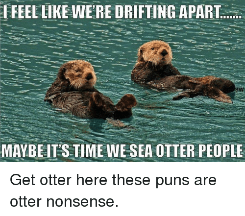 otter nonsense: IFEEL LIKE WERE DRIFTING APART  BW  MAYBE IT'S TIME WE SEA OTTER PEOPLE Get otter here these puns are otter nonsense.