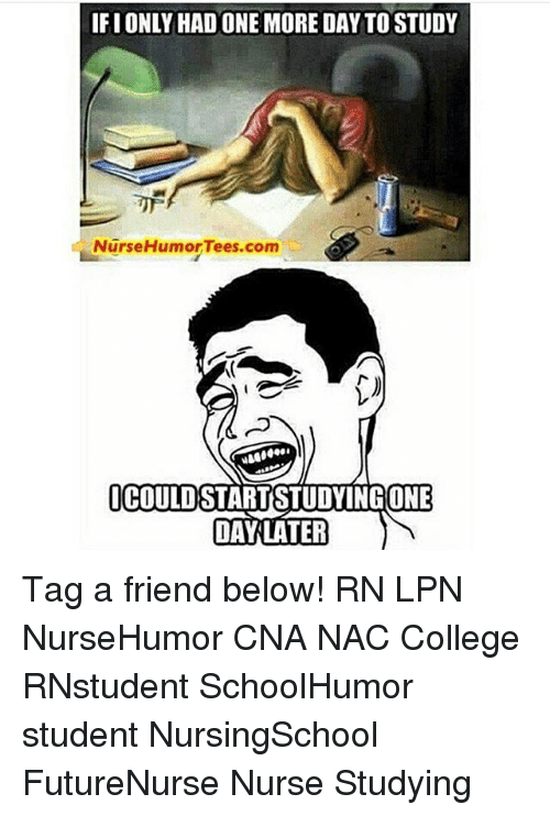 College, Memes, and 🤖: IFIONLYHAD ONE MORE DAY TOSTUDY  Nurse Humor Tees.com  OCOULD  ONE  DAY LATER Tag a friend below! RN LPN NurseHumor CNA NAC College RNstudent SchoolHumor student NursingSchool FutureNurse Nurse Studying