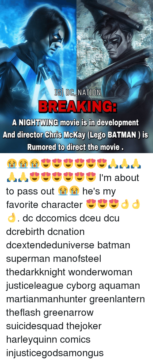 Batman, Lego, and Memes: IG DC NATION  A NIGHTWING movie is in development  And director Chris McKay (Lego BATMAN is  Rumored to direct the movie 😭😭😭😍😍😍😍😍😍🙏🙏🙏🙏🙏😍😍😍😍😍😍 I'm about to pass out 😭😭 he's my favorite character 😍😍😍👌👌👌. dc dccomics dceu dcu dcrebirth dcnation dcextendeduniverse batman superman manofsteel thedarkknight wonderwoman justiceleague cyborg aquaman martianmanhunter greenlantern theflash greenarrow suicidesquad thejoker harleyquinn comics injusticegodsamongus