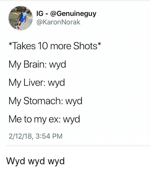 Memes, Wyd, and Brain: IG - @Genuineguy  @KaronNorak  *Takes 10 more Shots*  My Brain: wyd  My Liver: wyd  My Stomach: wyd  Me to my ex: wyd  2/12/18, 3:54 PM Wyd wyd wyd