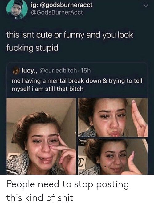 Fucking Stupid: ig: @godsburneracct  @GodsBurnerAcct  this isnt cute or funny and you look  fucking stupid  lucy, Ocurledbitch 15h  me having a mental break down & trying to tell  myself i am still that bitch  CHANIL People need to stop posting this kind of shit