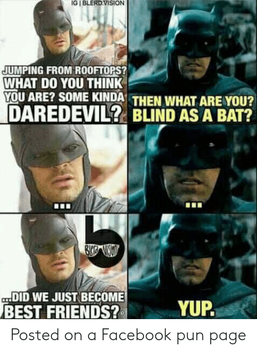 Facebook Pun: IG I BLERD.VISION  JUMPING FROM ROOFTOPS?  WHAT DO YOU THINK  YOU ARE? SOME KINDA THEN WHAT ARE YOU?  DAREDEVIL? BLIND AS A BAT?  DID WE JUST BECOME  BEST FRIENDS?  YUP. Posted on a Facebook pun page