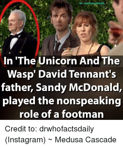 """cascade: IG I drwhofacts daily  In """"The Unicorn And The  Wasp' David Tennant's  father, Sandy McDonald,  played the nonspeaking  role of a footman Credit to: drwhofactsdaily (Instagram)   ~ Medusa Cascade"""