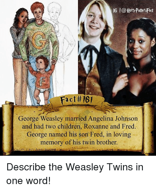 Children, Memes, and Twins: IG l@Harry Potters Fact  a C  George Weasley married Angelina Johnson  and had two children, Roxanne and Fred.  George named his son Fred, in loving  memory of his twin brother. Describe the Weasley Twins in one word!
