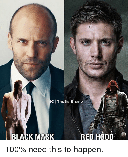 Anaconda, Memes, and Black: IG THEBATBRAND  BLACK MASK  RED HOOD 100% need this to happen.