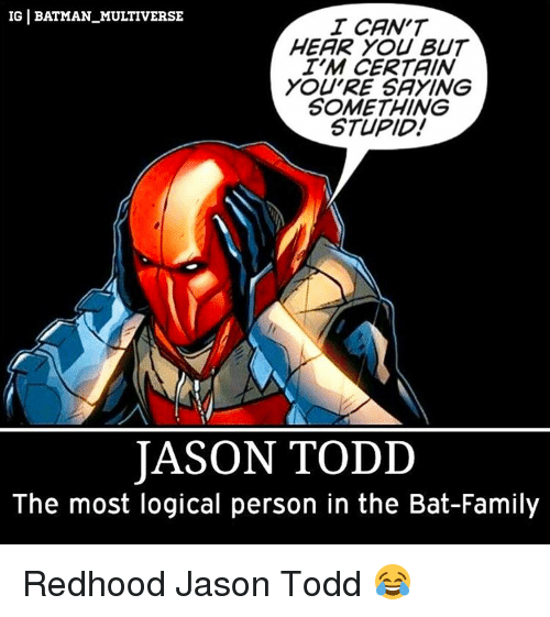Saying Something Stupid: IGI BATMAN MULTIVERSE  I CAN'T  HEAR YOU BUT  TM CERTAIN  YOU'RE SAYING  SOMETHING  STUPID!  JASON TODD  The most logical person in the Bat-Family Redhood Jason Todd 😂