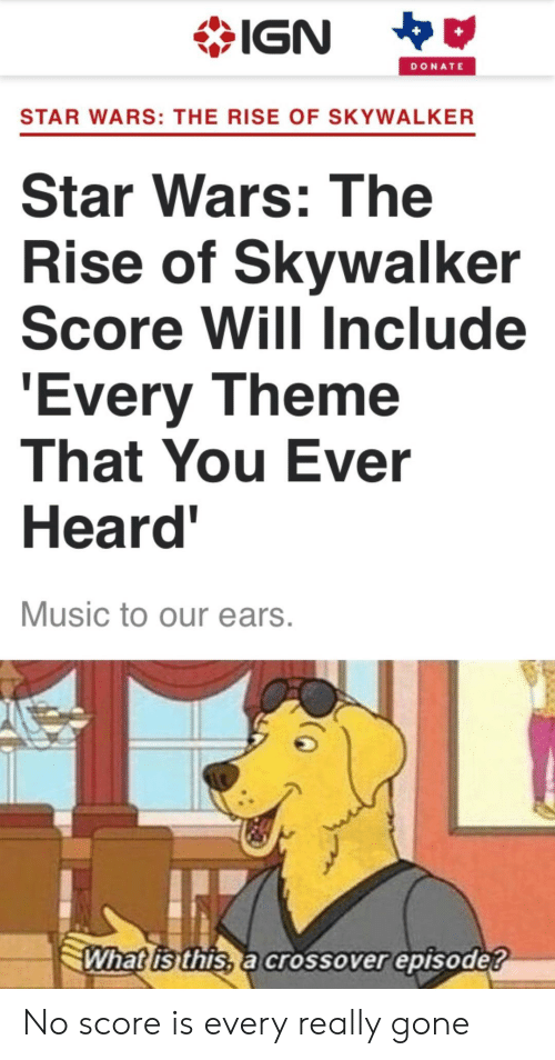 skywalker: IGN  DONATE  STAR WARS: THE RISE OF SKYWALKER  Star Wars: The  Rise of Skywalker  Score Will Include  'Every Theme  That You Ever  Heard'  Music to our ears.  What is this, a crossover episode? No score is every really gone