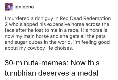 Red Dead Redemption: ignigeno  I murdered a rich guy in Red Dead Redemption  2 who slapped his expensive horse across the  face after he lost to me in a race. His horse is  now my main horse and she gets all the pats  and sugar cubes in the world. I'm feeling good  about my cowboy life choises. 30-minute-memes:  Now this tumblrian deserves a medal