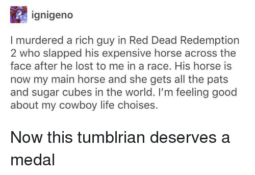 Red Dead Redemption: ignigeno  I murdered a rich guy in Red Dead Redemption  2 who slapped his expensive horse across the  face after he lost to me in a race. His horse is  now my main horse and she gets all the pats  and sugar cubes in the world. I'm feeling good  about my cowboy life choises. Now this tumblrian deserves a medal