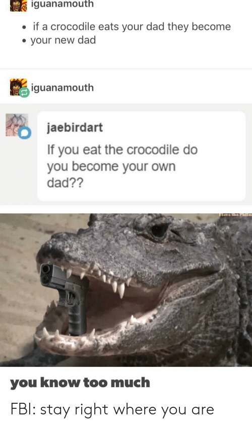 new dad: iguanamouth  if a crocodile eats your dad they become  your new dad  iguanamouth  jaebirdart  If you eat the crocodile do  you become your own  dad??  you know too much FBI: stay right where you are