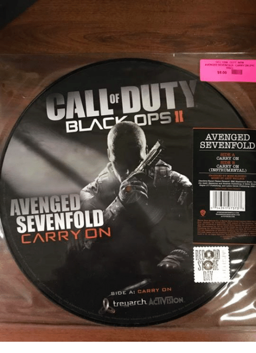 Dank, 🤖, and Avenged Sevenfold: II  PS  BLA  SEVENFOLD  SIDE A: CARRY ON  treyarch. ACTIVISiON  AVENGED  SEVENFOLD  CARRY ON  CARRY ON  INSTRUMENTAL
