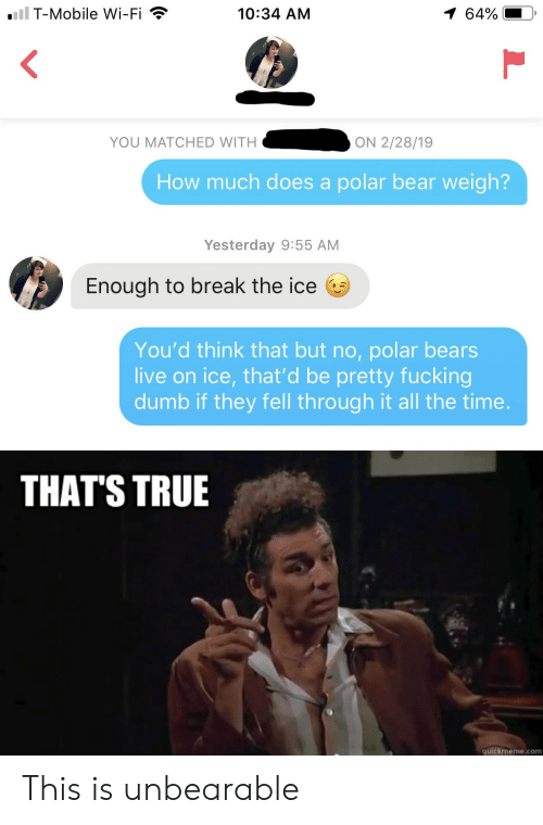 T-Mobile: iil T-Mobile Wi-Fi  1 64%  10:34 AM  YOU MATCHED WITH  ON 2/28/19  How much does a polar bear weigh?  Yesterday 9:55 AM  Enough to break the ice  You'd think that but no, polar bears  live on ice, that'd be pretty fucking  dumb if they fell through it all the time.  THAT'S TRUE  quickmeme.com This is unbearable