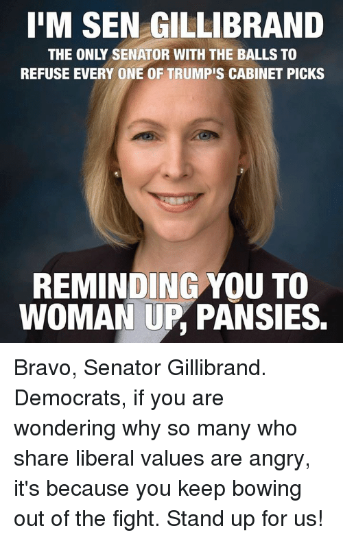 You Are Wonderful: IIM SEN GILLIBRAND  THE ONLY SENATOR WITH THE BALLS TO  REFUSE EVERY ONE OF TRUMPIS CABINET PICKS  REMINDING YOU TO  WOMAN UP PANSIES. Bravo, Senator Gillibrand.  Democrats, if you are wondering why so many who share liberal values are angry, it's because you keep bowing out of the fight.   Stand up for us!