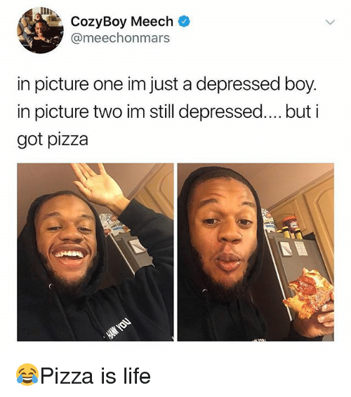 Life, Memes, and Pizza: IIR  CozyBoy Meech  @meechonmars  in picture one im just a depressed boy.  in picture two im still depressed.. but i  got pizza 😂Pizza is life