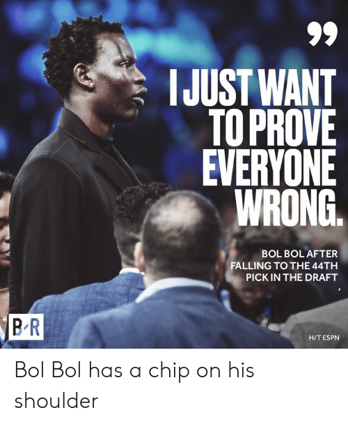 H T: IJUST WANT  TOPROVE  EVERYONE  WRONG.  BOL BOL AFTER  FALLING TO THE 44TH  PICK IN THE DRAFT  BR  H/T ESPN Bol Bol has a chip on his shoulder