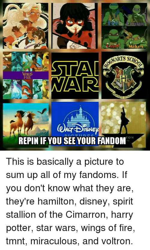 stallion: ike  NGS  RE  Moow  REPIN IF YOU SEE YOUR FANDOM This is basically a picture to sum up all of my fandoms. If you don't know what they are, they're hamilton, disney, spirit stallion of the Cimarron, harry potter, star wars, wings of fire, tmnt, miraculous, and voltron.