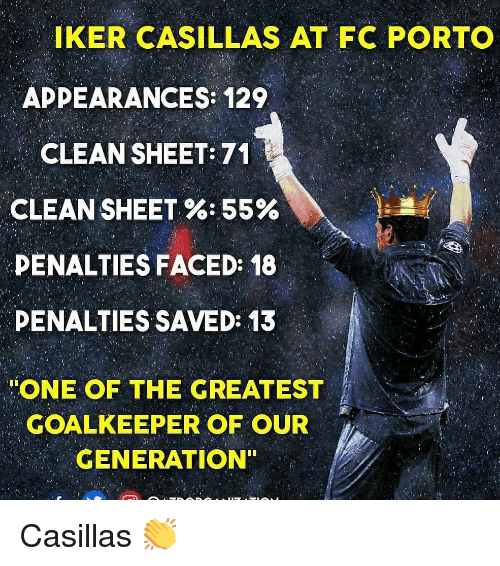 Appearances: IKER CASILLAS AT FC PORTO  APPEARANCES: 129  CLEAN SHEET: 71  CLEAN SHEET %-55%  PENALTIES FACED: 18  DENALTIES SAVED: 13  ONE OF THE GREATEST  GOALKEEPER OF OUR  GENERATION Casillas 👏