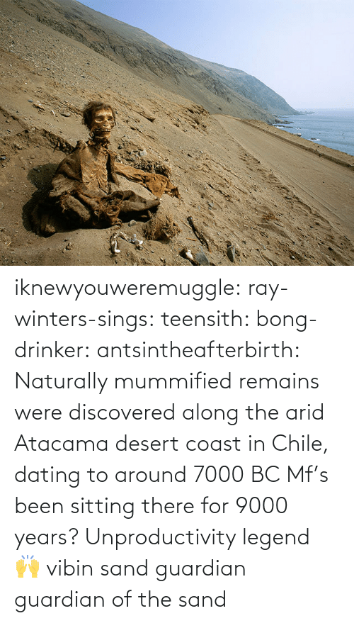 Guardian: iknewyouweremuggle:  ray-winters-sings: teensith:  bong-drinker:  antsintheafterbirth: Naturally mummified remains were discovered along the arid Atacama desert coast in Chile, dating to around 7000 BC   Mf's been sitting there for 9000 years? Unproductivity legend 🙌  vibin    sand guardian   guardian of the sand