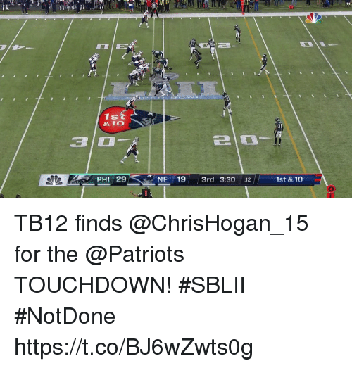 Memes, Patriotic, and 🤖: IL  1st  &10  3 0  PHI 2  NE 19 3rd 3:30 12  1st & 10 TB12 finds @ChrisHogan_15 for the @Patriots TOUCHDOWN! #SBLII #NotDone https://t.co/BJ6wZwts0g